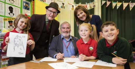 Chris Riddell visits Belfast pupils to encourage doodling, drawing and visits to school libraries